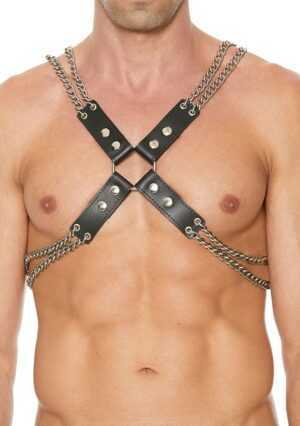 Chain And Chain Harness - Premium Leather - Black - One Size