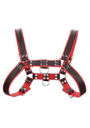 Chest Bulldog Harness - Premium Leather - Black/Red - L/XL