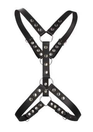 Harness With Metal Spots - Premium Leather - Black - One Size