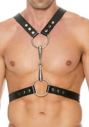 Men's Harness With Metal Bit - Premium Leather - Black - One Size