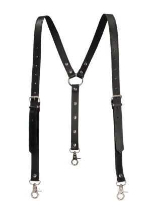 Men's Suspenders - Premium Split Leather - Black - One Size