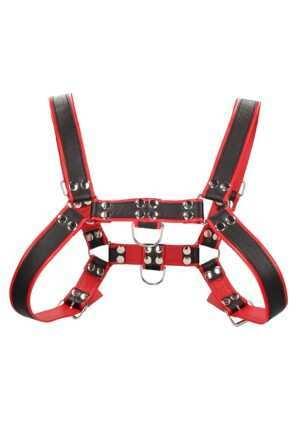Chest Bulldog Harness - Premium Leather - Black/Red - S/M